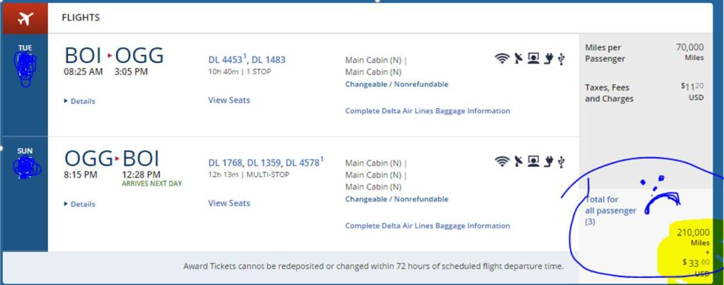 This is how many miles our tickets to Maui would have cost if I had booked directly through Delta Airlines