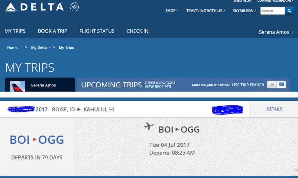 Delta Flight Confirmation