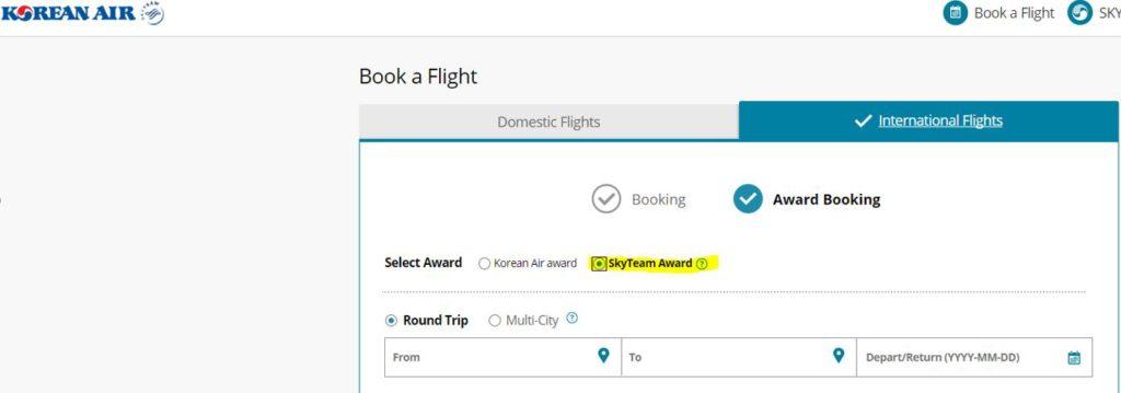 Korean Airlines SkyTeam Flight Booking